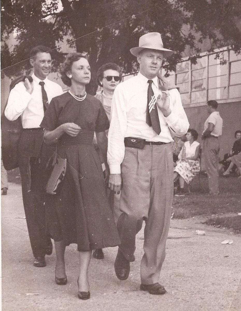 My grandparents walking through the University of Texas campus during college in the 1940s.